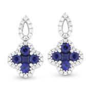 Blue Sapphire & Diamond Drop Earrings in 14k White Gold - AM-DE10496