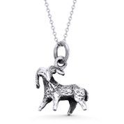 Aries Zodiac Sign Astrology Pendant & Cable Link Chain Necklace in Oxidized .925 Sterling Silver - ST-HCP001-ARIES-SLO