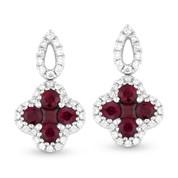 Round & Princess Cut Ruby & Diamond Drop Earrings in 14k White Gold - AM-DE10498