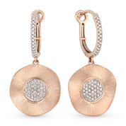 Diamond Pave Dangling Earrings in 14k Rose & White Gold - AM-DE8896