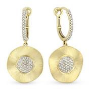Diamond Pave Dangling Earrings in 14k Yellow & White Gold - AM-DE8897