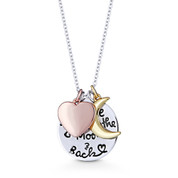 """I Love You To The Moon & Back"" Circle, Heart, & Moon Pendant & Chain Necklace in .925 Sterling Silver - GN-FN003-SL"
