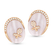 Pink Mother-of-Pearl & Round Cut Diamond Stud Earrings in 14k Rose Gold - AM-DE10846