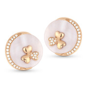 Pink Mother-of-Pearl & Round Cut Diamond Stud Earrings in 14k Rose Gold - AM-DE10847