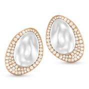 Round Cut Diamond Pave Stud Earrings in 14k Rose & White Gold - AM-DE10841
