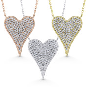 Large Heart Cubic Zirconia Crystal Pave Love Charm Necklace in .925 Sterling Silver - GN-FN007-SL