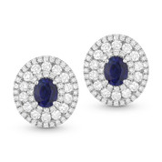 Round Cut Blue Sapphire & Diamond Pave Stud Earrings in 14k White Gold - AM-DE10109