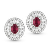Round Cut Red Ruby & Diamond Pave Stud Earrings in 14k White Gold - AM-DE10153