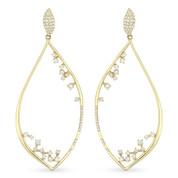 Tear-Drop Dangling Earrings w/ Round Cut Diamonds in 14k Yellow Gold - AM-DE10891