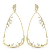 Bell-Shape Dangling Earrings w/ Round Cut Diamonds in 14k Yellow Gold - AM-DE10889