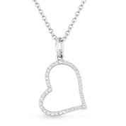 0.12ct Round Cut Diamond Sideways Heart Charm Pendant & Chain Necklace in 14k White Gold