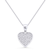 Heart Charm CZ Crystal Pave Pendant & Chain Necklace in .925 Sterling Silver w/ Rhodium - GN-HP005-SLW