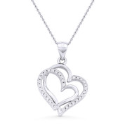 Double-Heart CZ Crystal Pave Pendant & Chain Necklace in .925 Sterling Silver w/ Rhodium - GN-HP011-SLW