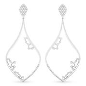 Tear-Drop Dangling Earrings w/ Round Cut Diamonds in 14k White Gold - AM-DE10658