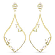 Tear-Drop Dangling Earrings w/ Round Cut Diamonds in 14k Yellow Gold - AM-DE10890