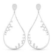 Tear-Drop Dangling Earrings w/ Round Cut Diamonds in 14k White Gold - AM-DE10660