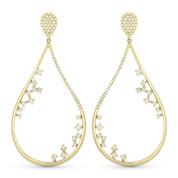 Tear-Drop Dangling Earrings w/ Round Cut Diamonds in 14k Yellow Gold - AM-DE10928