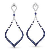 Blue Sapphire & Diamond Pave Drop Earrings in 14k White & Black Gold - AM-DE10918