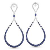 Blue Sapphire & Diamond Pave Tear-Drop Earrings in 14k White & Black Gold - AM-DE10920