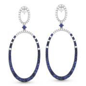 Blue Sapphire & Diamond Pave Oval Drop Earrings in 14k White Gold - AM-DE10922