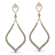 Brown & White Diamond Drop Earrings in 2-Tone 14k Rose & Black Gold - AM-DE10919