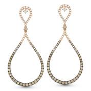 Brown & White Diamond Drop Earrings in 2-Tone 14k Rose & Black Gold - AM-DE10921