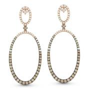 Brown & White Diamond Drop Earrings in 2-Tone 14k Rose & Black Gold - AM-DE10923