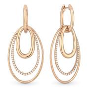 Oval Loop Stack Dangling Earrings w/ Round Cut Diamonds in 14k Rose Gold - AM-DE10931