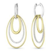 Oval Loop Stack Dangling Earrings w/ Round Cut Diamonds in 14k Yellow & White Gold - AM-DE11089