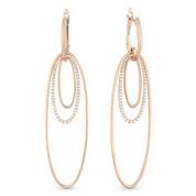 Oval Loop Stack Dangling Earrings w/ Round Cut Diamonds in 14k Rose Gold - AM-DE10927