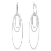 Oval Loop Stack Dangling Earrings w/ Round Cut Diamonds in 14k White Gold - AM-DE10927W