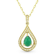 Green Agate & Diamond Pave Tear-Drop Pendant & Chain Necklace in 14k Yellow Gold - AM-DN4350