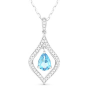 Pear-Shape Blue Topaz & Diamond Pave Pendant & Chain Necklace in 14k White Gold - AM-DN4348