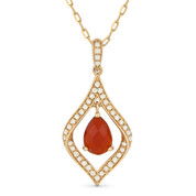 Pear-Shape Red Agate & Diamond Pave Pendant & Chain Necklace in 14k Rose Gold - AM-DN4349