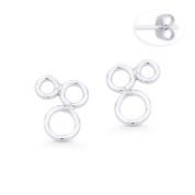 Triple Open Circle Cluster Stud Earrings w/ Push-Back Posts in .925 Sterling Silver - ST-SE039-SL