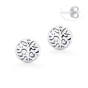 Tree w/ Filigree Vine & Leaf Charm Circle Stud Earrings w/ Push-Back Posts in Oxidized .925 Sterling Silver - ST-SE041-SL