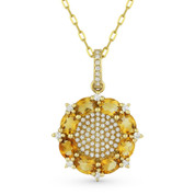 1.47ct Oval Cut Citrine & Diamond Pave Pendant & Chain Necklace in 14k Yellow Gold - AM-DN3896