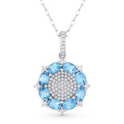 1.84ct Oval Cut Blue Topaz & Diamond Pave Pendant & Chain Necklace in 14k White Gold - AM-DN3897