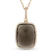 Checkerboard Smoky Topaz & Round Cut Diamond Halo Pendant & Chain in 14k Rose Gold - AM-DN3941