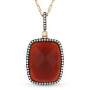 Checkerboard Red Agate & Round Cut Diamond Halo Pendant & Chain in 14k Rose & Black Gold - AM-DN4034B