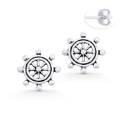 Helm Wheel Nautical Charm Stud Earrings in Oxidized .925 Sterling Silver - ST-SE044-SL