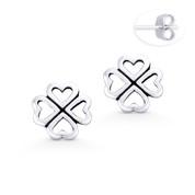 4-Heart Leaf Clover Irish Shamrock Charm Stud Earrings in Oxidized .925 Sterling Silver - ST-SE046-SL