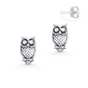 Perched Owl Animal Charm Stud Earrings in Oxidized .925 Sterling Silver - ST-SE049-SL