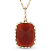 Checkerboard Red Agate & Round Cut Diamond Halo Pendant & Chain in 14k Rose Gold - AM-DN4034R