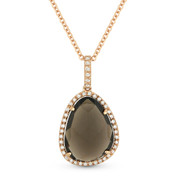 Smoky Topaz & Diamond Halo Pendant & Chain Necklace in 14k Rose Gold - AM-DN4382