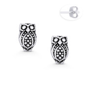 Perched Owl Animal Charm Stud Earrings in Oxidized .925 Sterling Silver - ST-SE068-SL