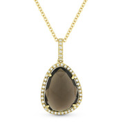 3.65ct Smoky Topaz & Diamond Halo Pendant & Chain Necklace in 14k Yellow Gold - AM-DN4383