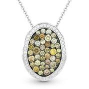 1.34ct Fancy & White Diamond Pave Pendant & Chain in 2-Tone 14k White & Black Gold - AM-DN4253