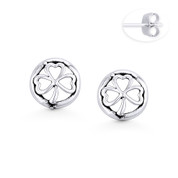 3-Heart Leaf Clover Irish Shamrock & Circle Charm Stud Earrings in Oxidized .925 Sterling Silver - ST-SE110-SL