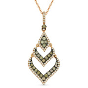0.57ct Fancy-Color & White Diamond Pave Pendant & Chain Necklace in 14k Rose & Black Gold - AM-DN4562